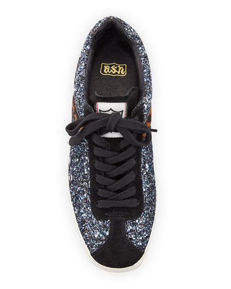 Glittered Fur-Trim Low-Top Sneaker, Black/Blue