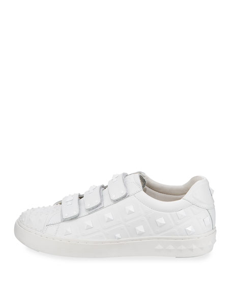 Peace Pyramid-Studded Sneakers, White