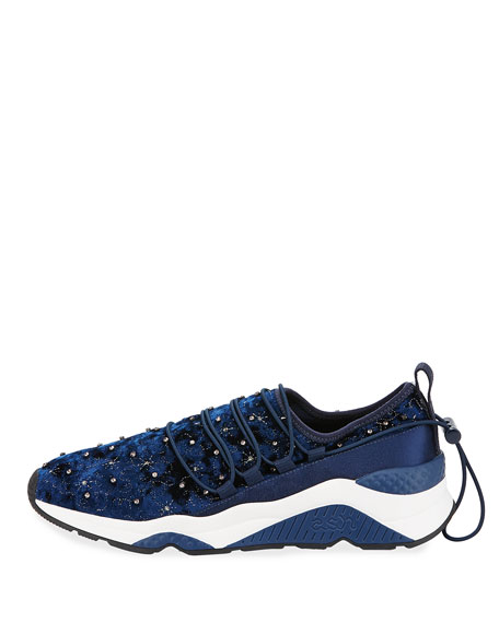 Misstic Beaded Velvet Sneaker, Blue