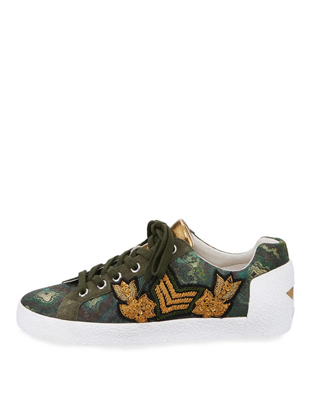 Nak Embroidered Low-Top Sneaker, Green Pattern