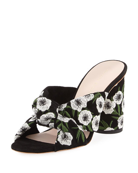 Coco Embroidered Suede Mule Sandal, Black Pattern