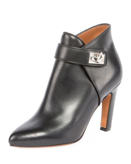 Givenchy Leather Shark Lock Ankle Boot, Black
