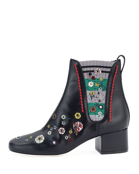 Embroidered Sock-Trim Leather Boot, Black