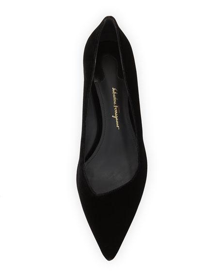 Point-Toe Velvet Flat, Black