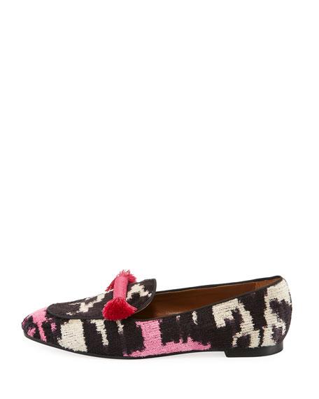 Ottoman Velvet Tassel Slipper, Pink/Black