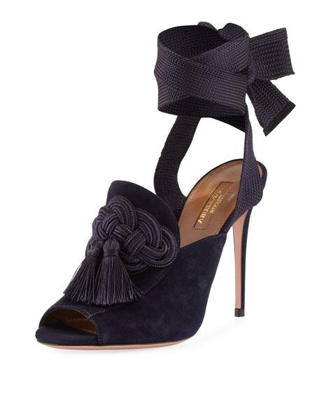 Aquazzura Legend Ankle-Wrap Suede Sandal, Navy