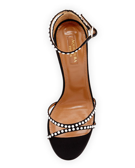Puriest Pearly-Studded Sandals, Black
