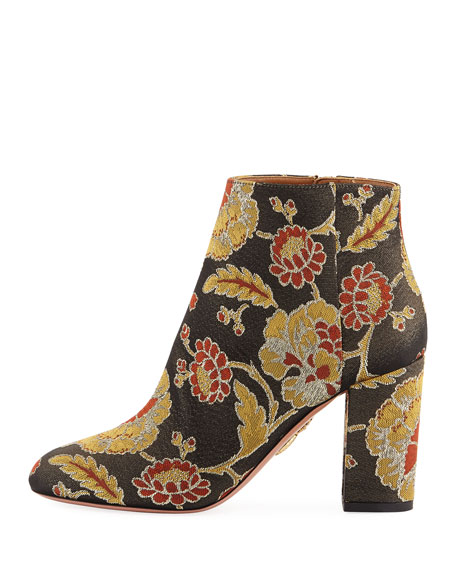 Brooklyn Rose Jacquard Boot, Black