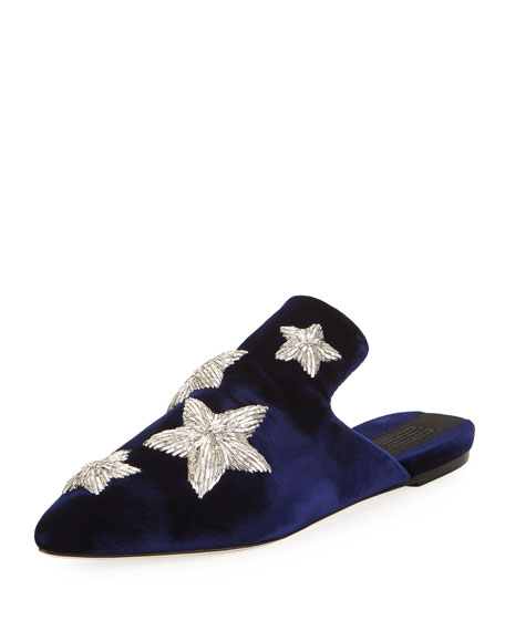 Image 1 of 1: Stelle Metallic Star Velvet Slipper, Blue Marine