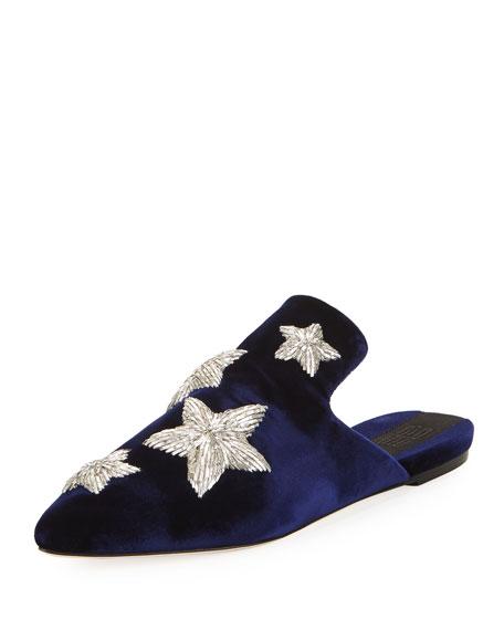 Stelle Metallic Star Velvet Slipper, Blue Marine