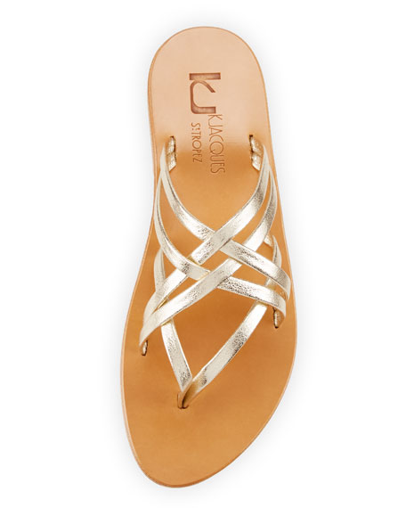 Aloes Strappy Slide Sandal, Champagne