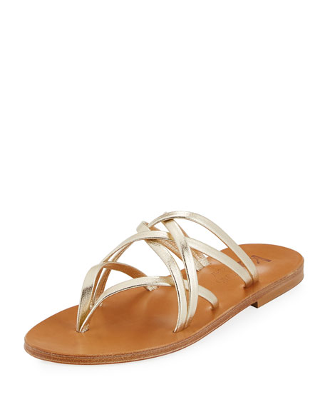 K. Jacques Aloes Strappy Slide Sandal, Champagne
