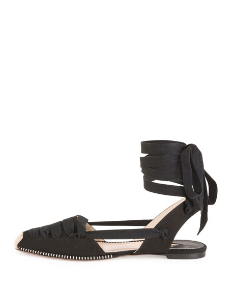 Lace-Up d'Orsay Espadrille Flat
