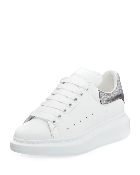 Alexander McQueen Lace-Up Low-Top Wedge Sneaker, White/Gray