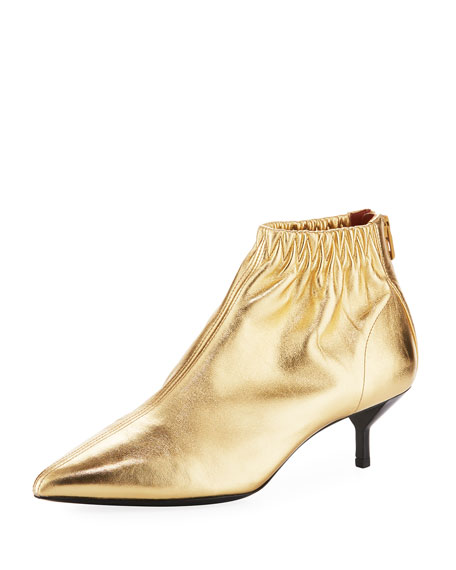 Blitz Ruched Leather Booties, Gold