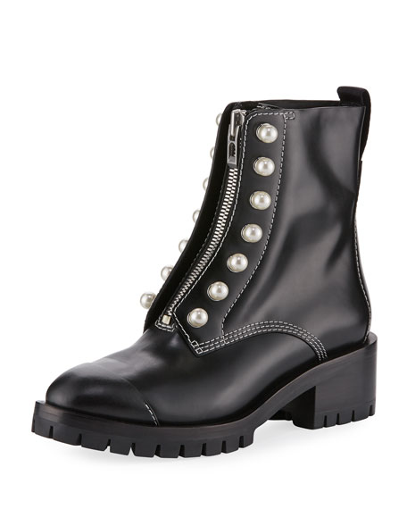 3.1 Phillip Lim Leather Lug-Sole Zip-Front Boot, Black