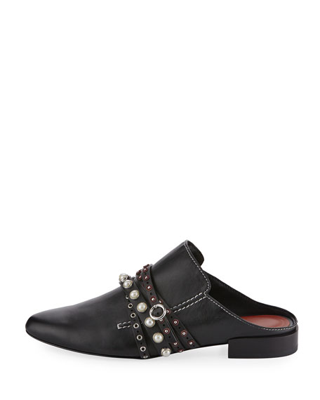 Louie Strappy Leather Mule Flat, Black