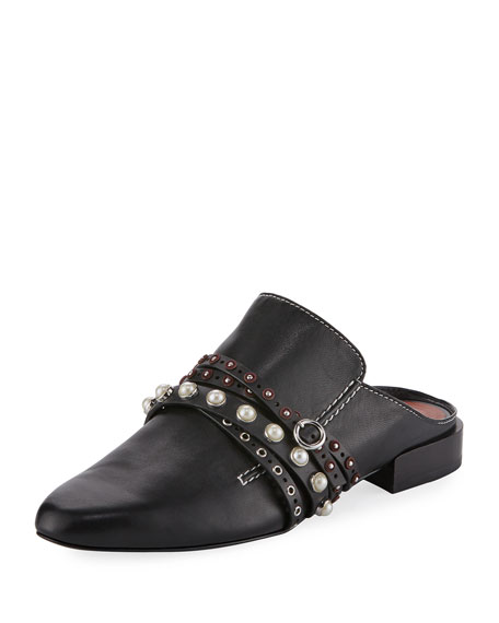 3.1 Phillip Lim Louie Strappy Leather Mule Flat,