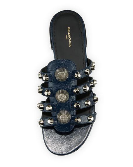 Mixed-Stud Leather Slide Flat Sandal