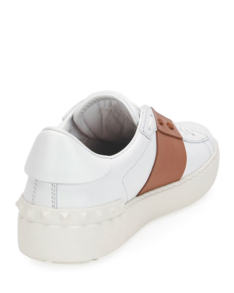 Colorblock Leather Low-Top Sneaker, Flesh