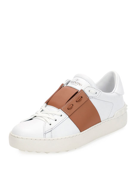 Valentino Colorblock Leather Low-Top Sneaker, Flesh
