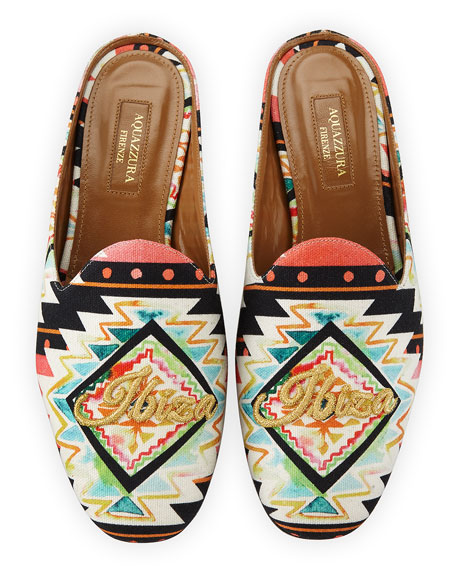 Aquazzura Ibiza Printed Satin Mule Loafer, Multi