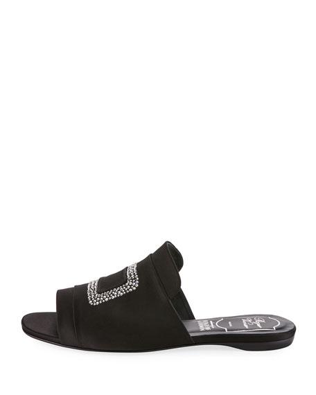 Strass-Embellished Satin Flat Slide, Black