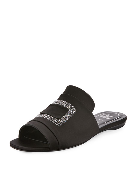 Strass-Embellished Satin Flat Slide, Black