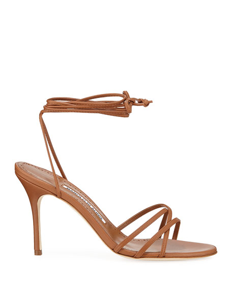 Leva Metallic Strappy Ankle-Wrap Sandals