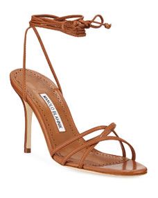 7f6340c6f9 Manolo Blahnik Leva Metallic Strappy Ankle-Wrap Sandals