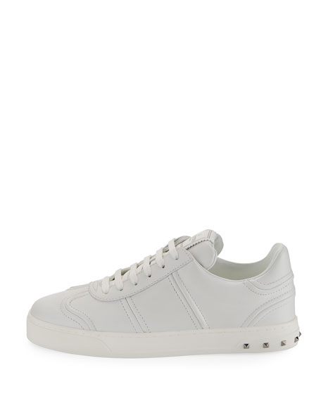 Fly Crew Lace-Up Leather Low-Top Sneaker, White