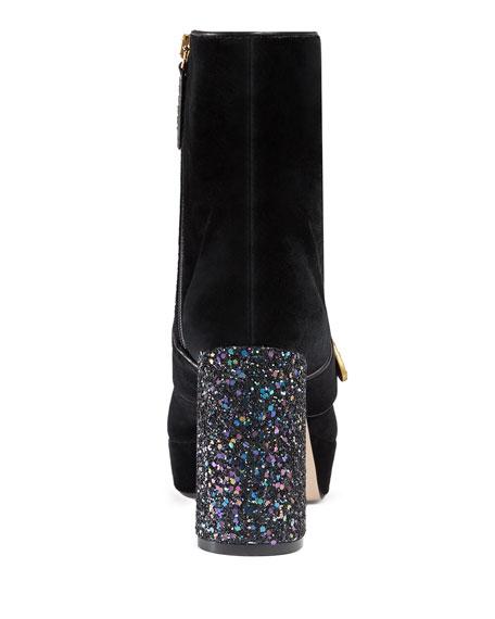 67e66c3cf Gucci Soko Glitter-Heel Bee Boot, Black