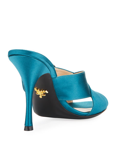 Jeweled Satin 100mm Slide Sandal