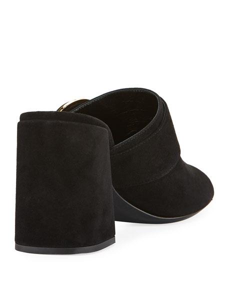 Leather Button Block-Heel Mule Sandal