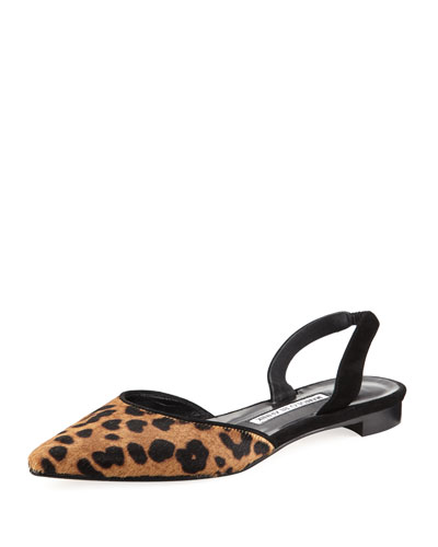 Carolyne Leopard-Print Calf Hair Halter Flat
