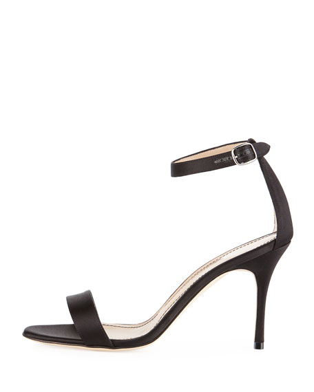 Chaos Satin Sandals, Black
