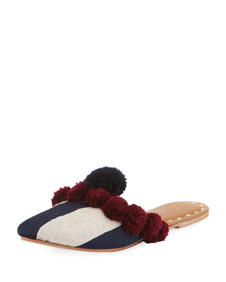 Figue Striped Pompom Flat Mule Slide, Dark Blue