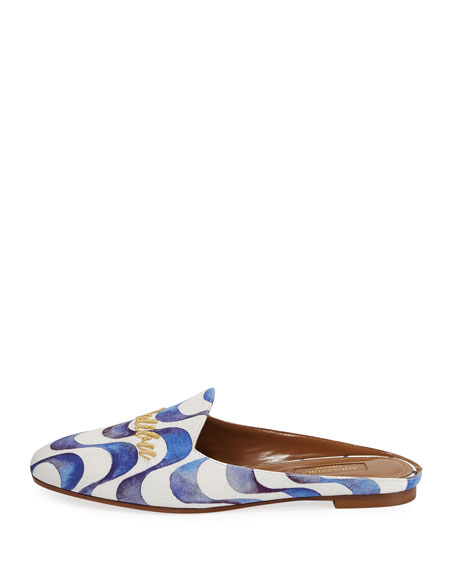 Malibu Wave-Print Loafer Slide, Blue Pattern