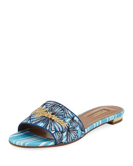 Mykonos Shell-Print Slide Sandal, Blue Pattern