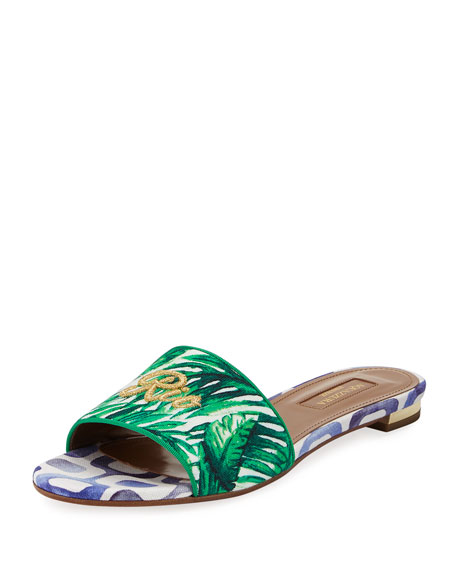 Rio Palm-Print Slide Sandal, Green Pattern