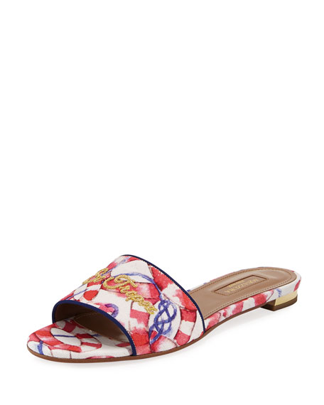 St. Tropez Embroidered Slide Sandal, Pink/White