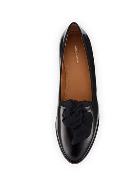 Mixed Leather Bow Flat Loafer