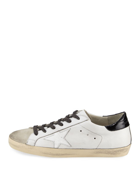 Superstar Leather Low-Top Sneaker, White/Black