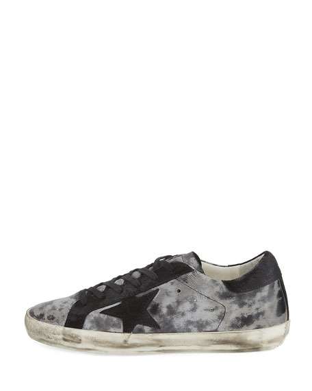 Star Distressed Low-Top Sneaker, Silver