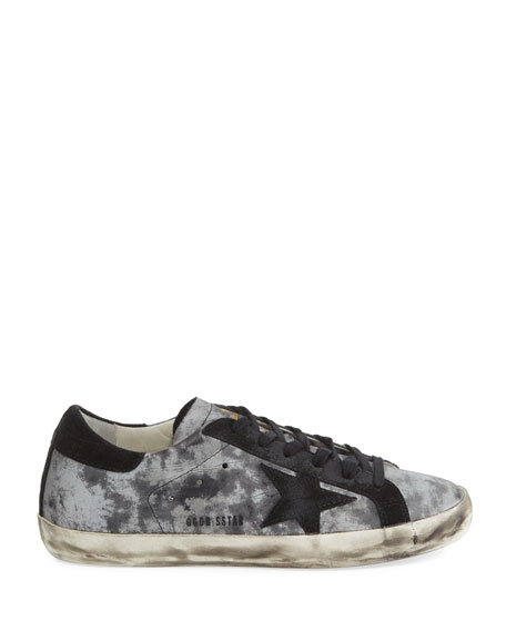 Star Distressed Low-Top Sneaker, Silver