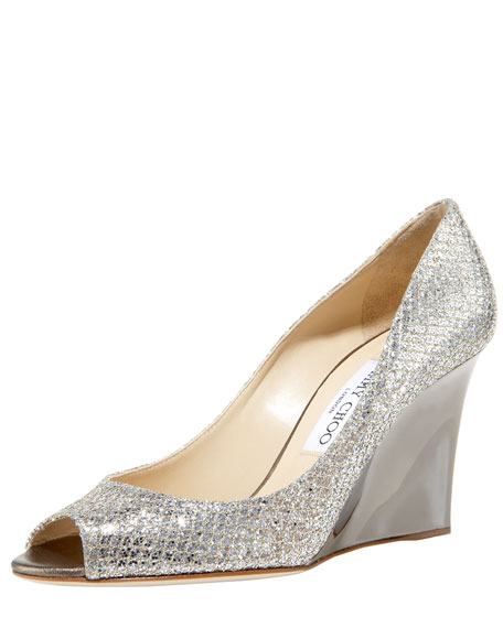 Image 1 of 1: Baxen Glitter Peep-Toe Wedge Pump