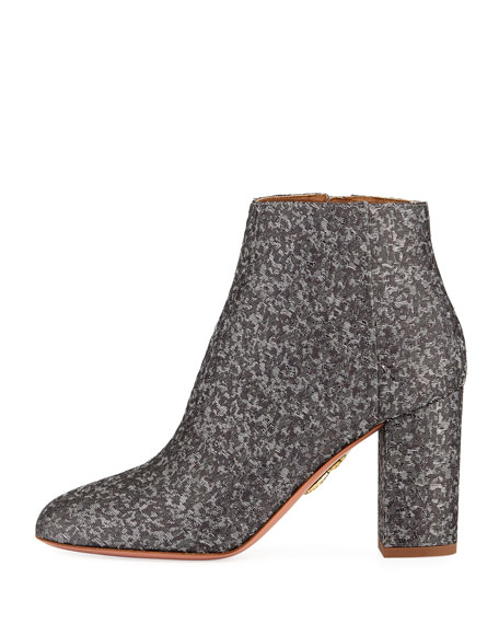 Brooklyn Block-Heel Brocade Bootie