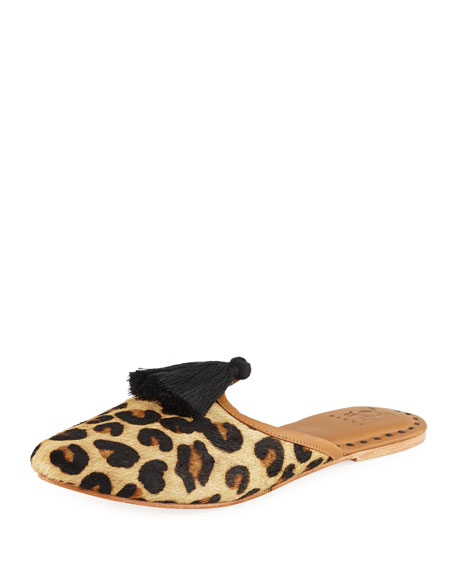 Figue Audrey Calf Hair Mule Flat, Leopard