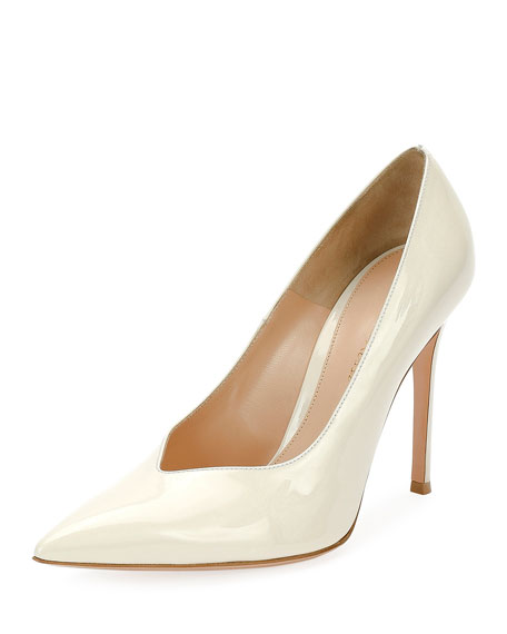 Gianvito Rossi Paris Patent Point-Toe 105mm Pump, White