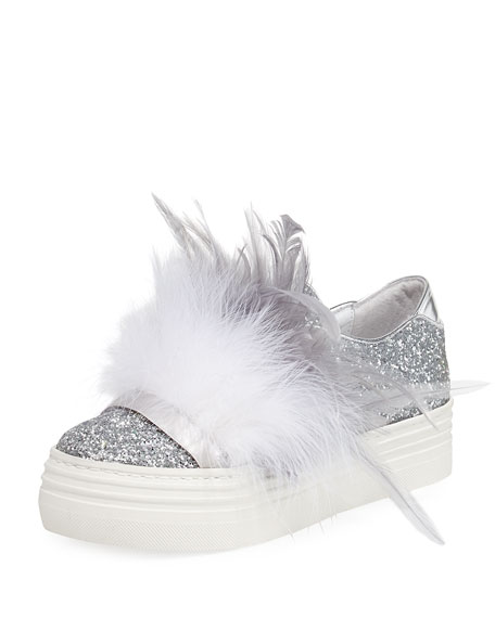 KATE FEATHER-EMBELLISHED GLITTER SNEAKERS, SILVER